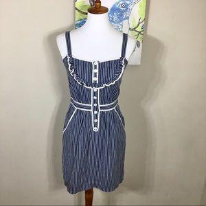Tikirani Blue Striped Pinafore Pin Up Ruffle Dress